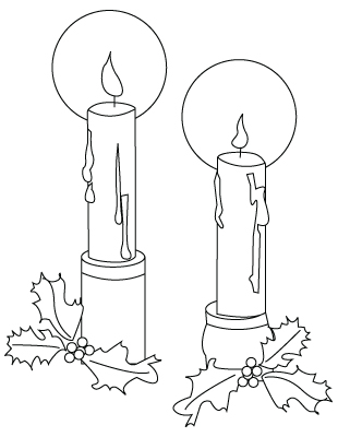 Christmas candles coloring sheet