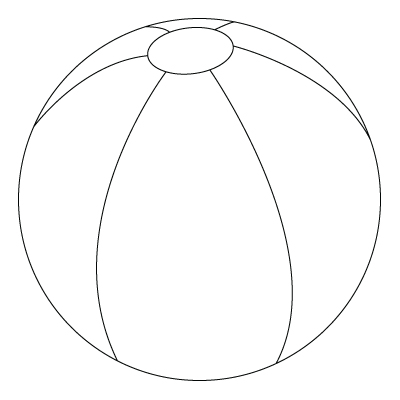 Beach Ball To Colour Sketch Coloring Page