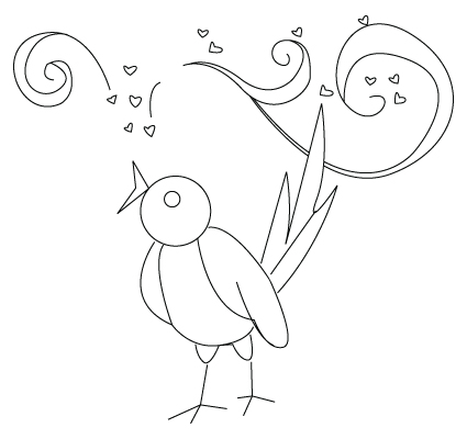 Valentine's Day birds coloring sheet