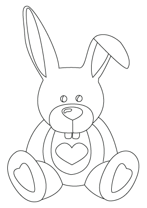 Valentine's Day bunny coloring sheet