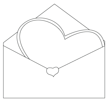 Valentine's Day envelope coloring sheet