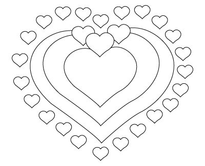 Valentine's Day hearts coloring sheet