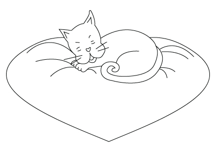 Valentine's Day kitty coloring sheet
