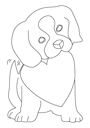 Valentine's Day puppy coloring sheet