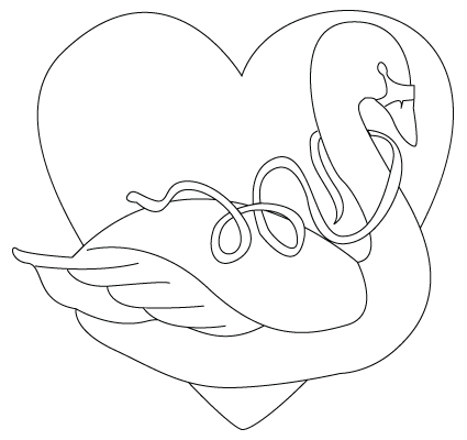 Valentine's Day swan coloring sheet