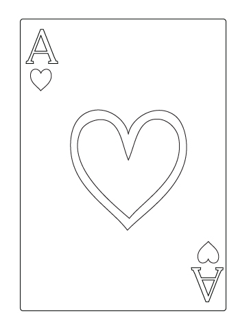 Ace of heart coloring sheet