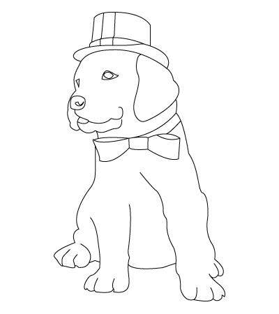 Christmas dog coloring sheet